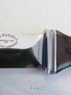 1977 AG Russell STING Fixed Blade BOOT KNIFE Leather Sheath SOLINGEN Germany