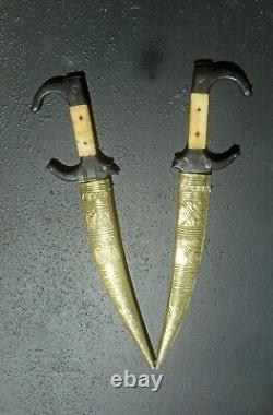 2 Traditional Tunisian Daggers (36cm), Engraved Arab Blades, Maghreb Knife