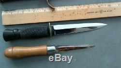 4 Fixed Blade Trench Art Fighting Knives Dagger Sticking Unmarked name & year