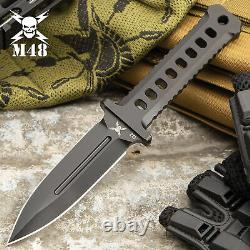 9 M48 Black Tactical D2 STEEL Combat Fixed Blade Dagger Knife Bowie with Sheath