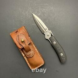 A. G. Russell One-Hand Knife N-690 with Dagger Blade Carbon Fiber Italy
