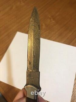 Aim Blades Damascus Dagger Boot Knife with Sheath 4.75 Blade 10.75 Overall