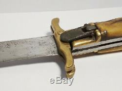 Antique 1900's 7.5 blade Folding Bowie stag knife hunting dagger dirk
