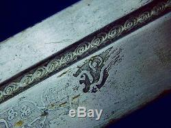 Antique 19 Century Middle East Engraved Kindjal Dagger Knife Blade with Scabbard