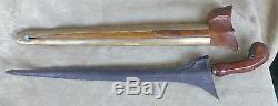 Antique 19c Large Indonesian Kris Dagger Knife Sword Damascus Steel Blade Malay