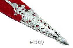 Antique Dagger Knife Wootz blade silver work n filigree work on handle n sheath