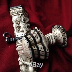 Antique Hunter Knife Sterling Silver Gold Blade Dagger Greek Mythology Face Mask