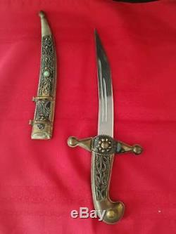 Antique Indo Persian Mughal Brass Dagger Ornate Blade Knife Sword 14l