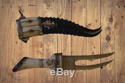 Antique Islamic Khanjar Dagger Double Blade Arabic Handmade Horn Gazelle Knife