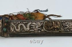 Antique Mahakala Tibetan Silver CORAL Carved Old Tibet Blade Knife Dagger Nepal
