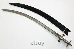 Antique Sword dagger knife Steel Blade silver wire work on handle sheath A 34