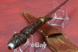 Antique c1800's German Dagger Knife Carved Handle Brass & Bakelite, Flame Blade