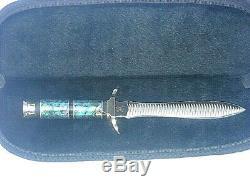 Buck Custom 976 Paua Shell File Dagger Fixed Blade Knife # 6 / 250 Free Shipping