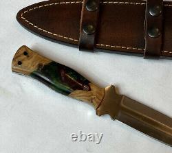 CFK Handmade D2 Custom EXOTIC OLIVE WOOD CORELON Dagger Pugio Blade Hunter Knife