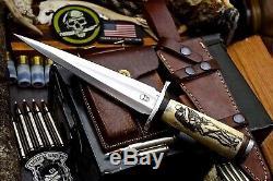 CFK Handmade D2 Custom KISS THE DEAD Scrimshaw Bone Toothpick Dagger Blade Knife