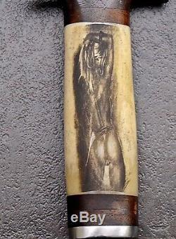 CFK Handmade D2 Custom NUDE WOMEN Scrimshaw Bone Commando Dagger Blade Knife