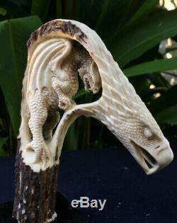 Carved Knife Handle Hawk Eagle Curved Deer Antler Shed 3D Carving Blade Dagger