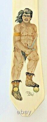 Charles Rust Custom Piece Dagger Boot fixed blade knife sheath scrimshaw Unused