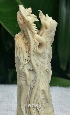 Chinese Dragon Carved Knife Handle Deer Antler Shed Blade Dagger Free Shipping