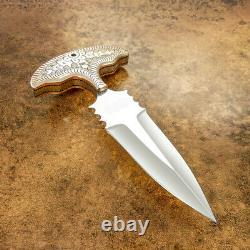 Custom D2 Blade Art Dagger Knife Engraved Copper Bolsters A Work Of Art