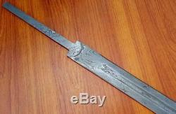 Custom Damascus Hunting Knife Viking Celtic Sword Blank Blade Dagger 35 Mi-23