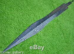 Custom Damascus Steel Hunting Knife Greek Sword Blank Blade / Dagger /31l