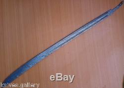 Custom Damascus Steel Hunting Knife / Zombie Machete Sword Blank Blade / Dagger