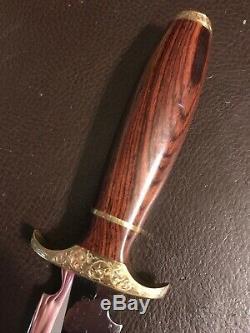 Custom Engraved Handmade Dagger By Walter Stockdale Convex Blade Boot Knife Mint
