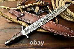 Custom Hand Made Damascus Steel Blade Double Edge Dagger Sword KnifeWalnut Wood