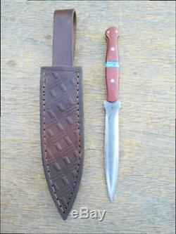 Custom Hand-forged Carbon Steel File-Blade Boot Fighting Knife withTurquoise Inlay