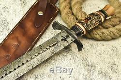 Cutlery Salvation HUGE CUSTOM HANDMADE DAMASCUS STEEL BLADE SWORD DAGGER KNIFE