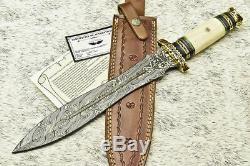 Cutlery Salvation Hand Forged Damascus Steel Blade Dagger Knife Camel Bone