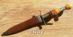Dagger Bowie Knife Antique Ornate Blade Bakelite Catalin Handle Leather Sheath