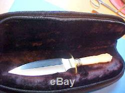 Dagger Knife 440c Ss Blade Carved Genuine Mother Of Pearl Handle Custom New