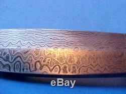 Dagger Knife Damascus Blade Carved Genuine Mother Of Pearl Handle Custom New