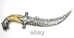 Dagger Knife Damascus Blade Knives Indo Persian Koftgari Silver Inlay Work Gifts