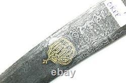 Dagger Knife Handmade White Crystal HandleGold Wire Work Damascus Steel Blade