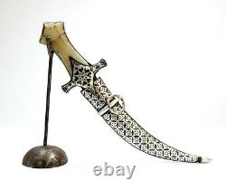 Dagger Knife Knives Indo Persian Damascus Blade Koftgari Silver Inlay Work Gifts