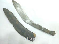 Dagger Knife Nepali Kukri Khukuri Machete Old Steel Blade Wooden Handle Sheath