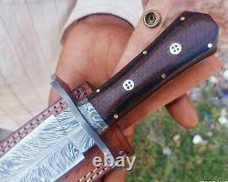 Dagger knifeFeather PattrenDamascus Steel Blade/Custom Handmade 14.5 Micarta