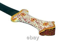 Dagger knife Damascus steel blade Handmade Enamel Cloisonne work Handle n Sheath