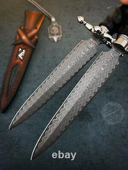 Damascus Dirk Outdoor Survival Army Hunting Knife Sword Fixed Blade Dagger Diy