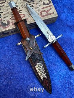 Damascus Dirk Outdoor Survival Hunting Knife Army Sword Fixed Blade Dagger Saber