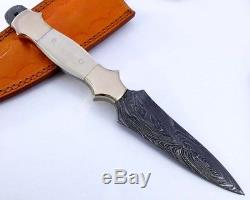 Damascus Knife Hunting Folding Blade Pocket Camping Sports Outdoor Dagger Steel