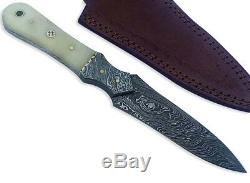 Damascus Knife Hunting fixed Blade Pocket Camping Sports Outdoor slim Dagger