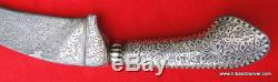 Damascus Steel Blade Knife Dagger Silver Bidaree Work