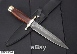 Death Squads Camping Dagger Sword Tactical Knife Damascus Steel Sharp Blade