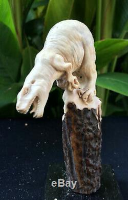 Dinosaur Carved Knife Handle Antler Shed Carving Blade Dagger Free Shipping New