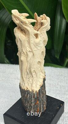 Dragon Chinese Carved Knife Handle Deer Antler Shed Blade Dagger Free Shipping