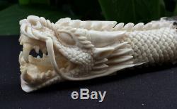 Dragon Head Big Carved Knife Handle Deer Antler Carving Blade Dagger Huge New